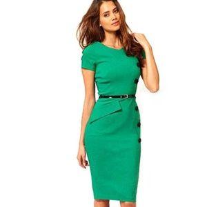 Dresses & Skirts - retro rockabilly green midi dress size small